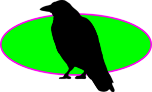 Raven On Green Oval Clip Art