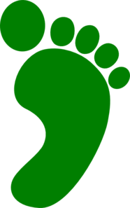 Angled Right Green Foot Clip Art
