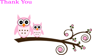 Pink Owl On Branch Clip Art