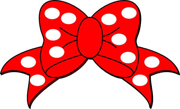 Minnie Mouse Red Bow Outline Polka bow clip art - vector | 600 x 366 png 38kB