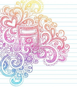 Music Note Sketchy Back To School Doodles With Swirls Hearts And Stars Notebook Doodle Vector Illust Image