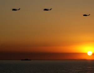 Ch-53 Sea Stallion Helicopters Fly Over The Northern Arabian Gulf Image