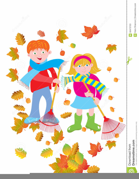 Kids Raking Leaves Clipart Free Images At Clker Com Vector Clip