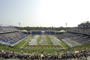 The U.s. Naval Academy Brigade Of Midshipmen March Into The Recently Renovated Jack Stephens Field Image
