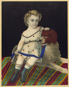 Kid Sitting With Dog Image