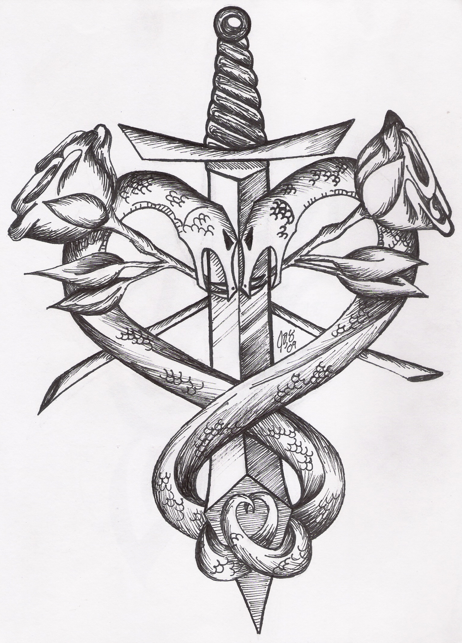 Old school tattoo dagger through heart stock photos image - Twisted Serpent Tattoo By Egslonelyshadow Image