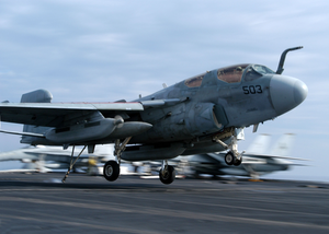 An Ea-6b Prowler Lands On The Flight Deck Aboard Uss Theodore Roosevelt Image