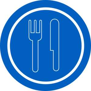 Food-service-sign Blue Plate With Outline Knife And Fork Clip Art at ...