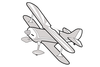 Grey Biplane Clipart Image