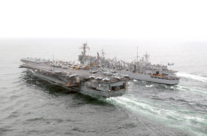 U.s. Navy Ships Conducting A Replenishment At Sea Operation. Image