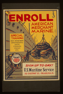 Enroll American Merchant Marine Special Training - Deck Department, Engineering, Radio, Steward, Cooks, Etc. : Sign Up To-day! Image