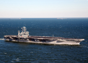 Uss George Washington (cvn 73) Sails Past The Chesapeake Bay Bridge Tunnel Into The Atlantic Ocean To Start Her Deployment. Image