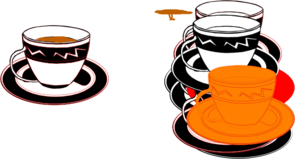 Black And Red Cup With Tea Clip Art