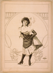 [woman Wearing Short Skirted Dress With Hands On Hips And Feathers In Her Hair] Image