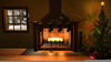 Christmas Fireplace Scene Clipart Image
