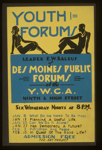 Youth Forums Leader E.w. Balduf Of Des Moines Public Forums At The Y.w.c.a. Ninth & High Street. Image