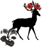Deer With Red Flowers Clip Art