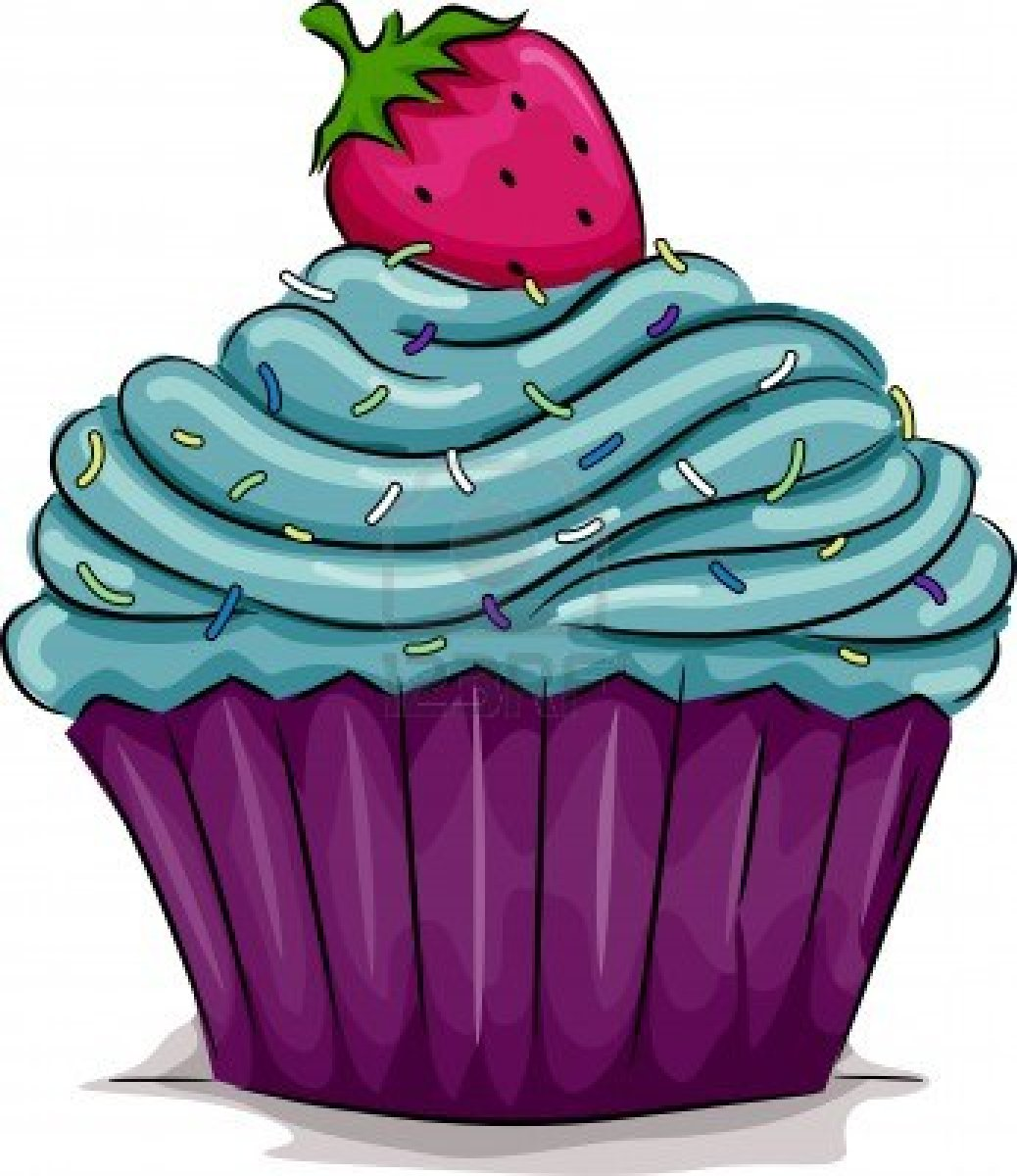 Clipart De Cupcake : Illustration Of A Cupcake With A Strawberry On Top Free ...