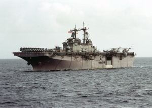 The Amphibious Assault Ship Uss Essex (lhd 2) Steams In The Philippine Sea Participating In Tandem Thrust  03 Image