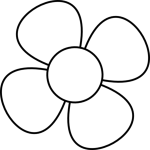 Flower black and white. Clip art at clker
