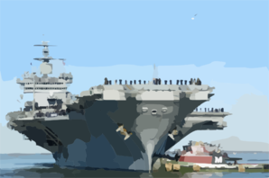 Sailors And Marines  Man The Rails  Aboard The Nuclear Powered Aircraft Carrier Uss Enterprise (cvn 65) As She Approaches Her Pier Where Thousands Of Family Members Await. Clip Art