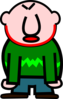 Angry Bald Man With Red Mark On Neck Clip Art