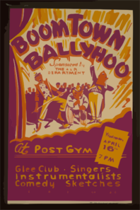 Boom Town Ballyhoo  - Sponsored By The A&r Department - At The Post Gym Glee Club, Singers, Instrumentalists, Comedy Sketches : Selected From The  Boom Town Subdivision  Of The A&r Dept. Clip Art