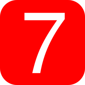 Red, Rounded, Square With Number 7 Clip Art