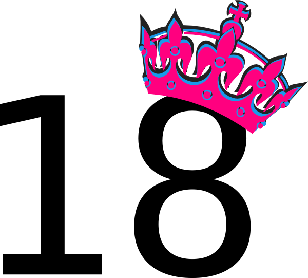 Pink Tilted Tiara And Number 18 clip art