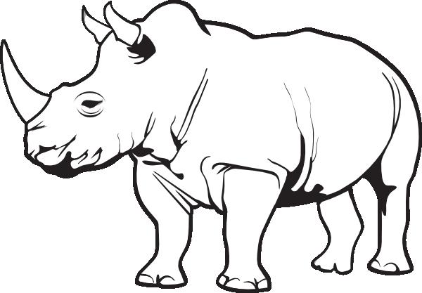 Line Drawing Rhinoceros : Rhinoceros clip art at clker vector online
