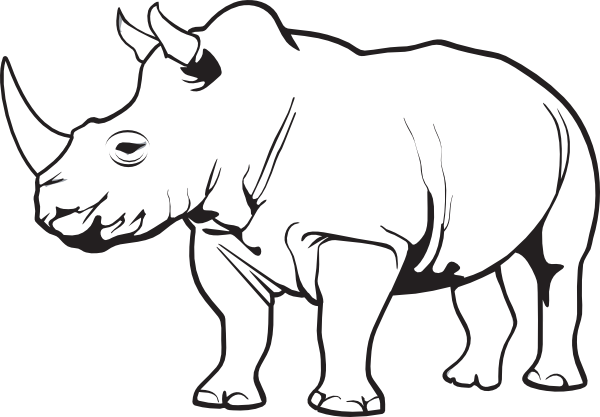 Line Drawing Rhino : Rhinoceros clip art at clker vector online