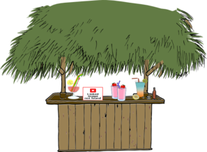 Tiki Bar With Drinks Clip Art