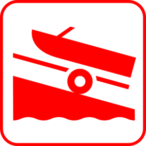 Boat Launch - Red Clip Art