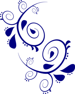 Navy Paisley Scroll Clip Art