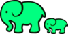 Surf Green Elephant Mom And Baby Image