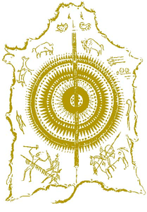 Mandan Robe The Sun Is Presented On A Buffalo Shield Wit The Hunting And War Feats Drawn In Ochre Image