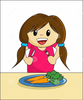 Girl Eating Cereal Clipart Image