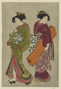 Geisha And A Servant Carrying Her Koto. Image
