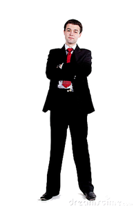 Young Business Man Standing Arms Crossed Copy Image