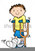 Boy On Crutches Clipart Image