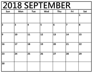September Calendar Printable Sheet Image