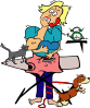 Busy Mom With Child And Pets Clip Art