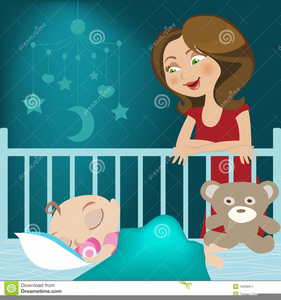 Baby Sleeping In Crib Clipart Image