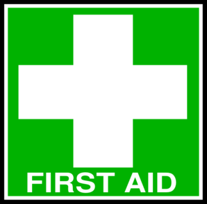 White First Aid Cross With Text Clip Art