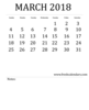 Free Printable Template March Calendar Bold Style Image