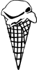 Ice Cream Cone (1 Scoop) (b And W) Clip Art