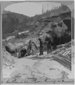 [four Men Placer Mining For Gold At Discovery Claim In The Klondike] Clip Art
