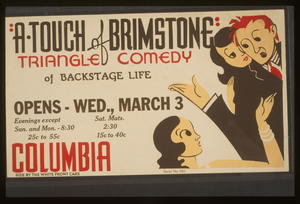 A Touch Of Brimstone  - Triangle Comedy Of Backstage Life Image