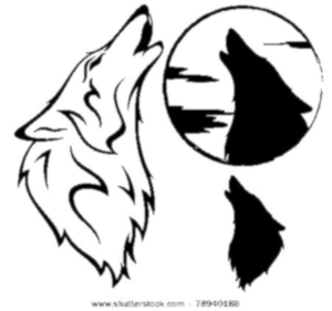 Stock Vector Howling Wolf Vector Illustration Outline Silhouette Against Moon Disk Image