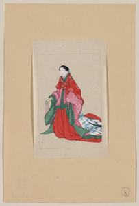 Japanese Woman, Full-length, Standing, Facing Left, Wearing Robes Of A Noblewoman, Such As Empress Or Princess; Also Shows Custom Of Artificial Eyebrows Image